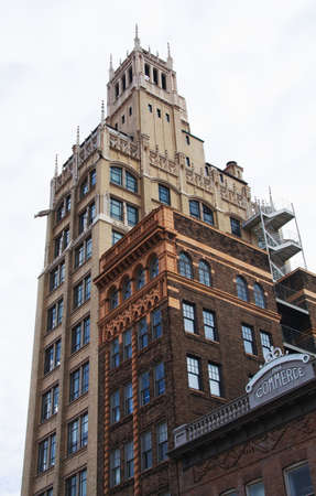 View of historic buildings in downtown Asheville, North Carolina. Imagens