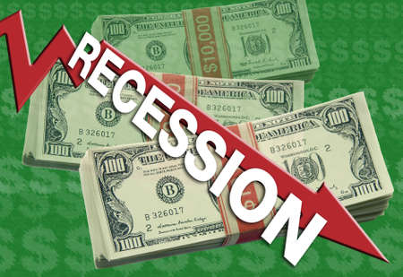represents: A economic downturn graphic represents a recession. Stock Photo
