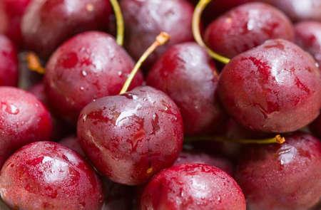 bing: Macro shot of juicy, fresh bing cherries. Stock Photo
