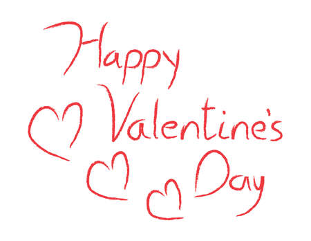 written text: Hand drawn vector Happy Valentines Day type. Illustration
