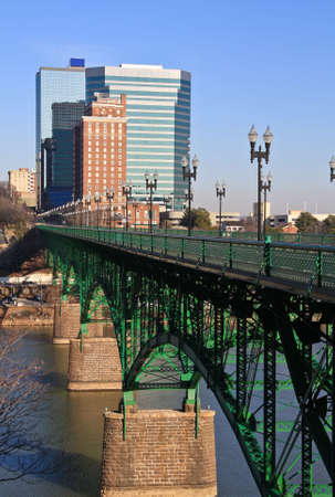 A view of downtown Knoxville from the Gay Street Bridge. Stock Photo