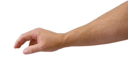 Male arm reaching isolated with path. Stock Photo