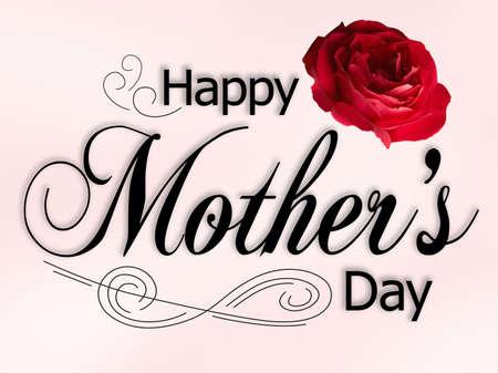 母の日カードにバラのテキストと装飾。