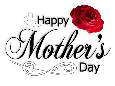 Mothers Day Card met tekst, roos en versiering.