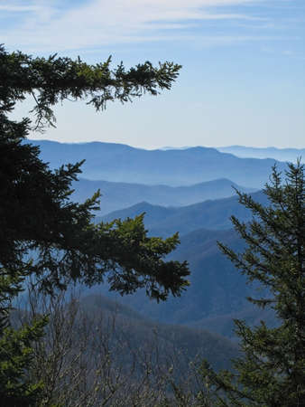 newfound gap: View of the Smoky Mountains from a trail near Newfound Gap. Stock Photo