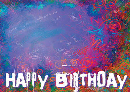 notecard: Happy Birthday type with abstract background for a card. Stock Photo