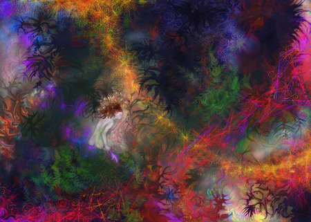 faerie: Little fairy girl in an abstract fantasy background.