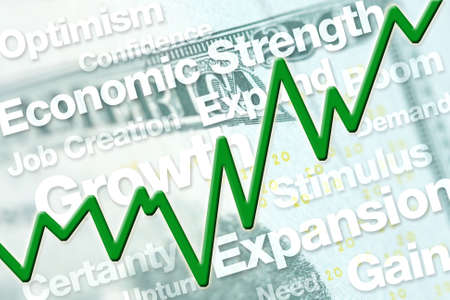 economic recovery: Economic recovery graphic with line chart and text.