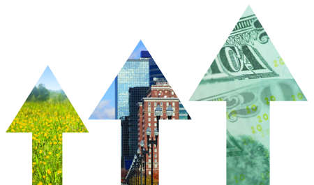 Three arrows with graphics represent economic stimulus or growth. photo