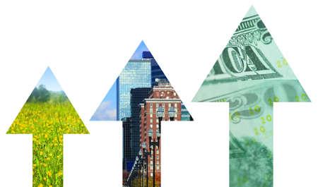 stimulus: Three arrows with graphics represent economic stimulus or growth. Stock Photo