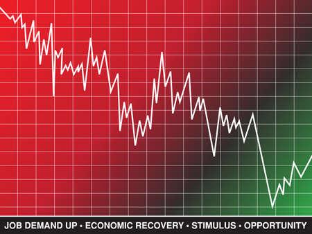株式市場は、景気回復を表す線グラフとテキスト