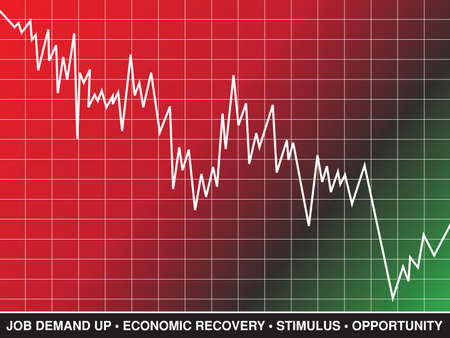 economic recovery: A line graph and text represent stock market and economic recovery Illustration