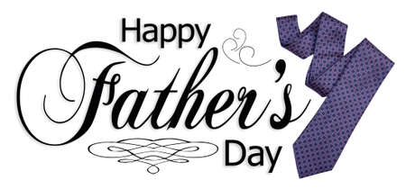 Happy Fathers Day type with necktie isolated on white.