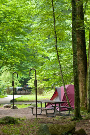 campground: Tent on a camping spot at a campground in Tennessee. Stock Photo