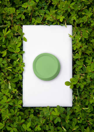dimmer: Close-up of light switch dimmer on green nature background.