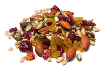Close-up of a pile of trail mix isolated on white. photo