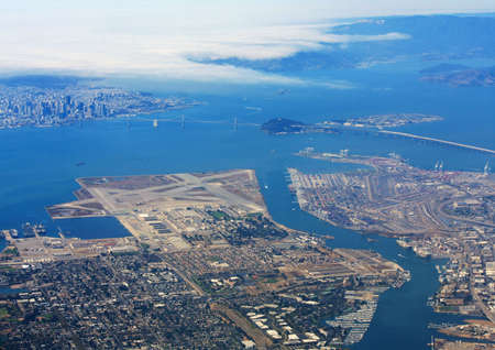 Aerial view of San Francisco Bay with city skyline and Bay Bridge in California. Stock Photo - 5567366