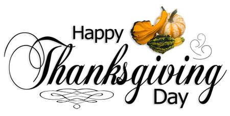 Happy Thanksgiving type met herfst kalebassen en ornamenten Stockfoto