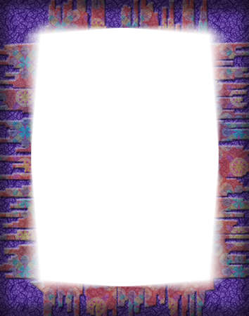 Decorative frame with a colorful textured border.