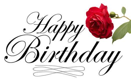 birthday flowers: Happy Birthday script type met rode roos.
