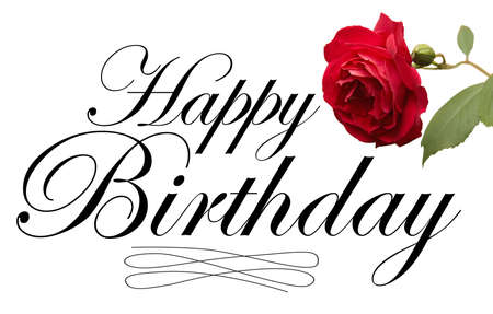 flower card: Happy Birthday script type with red rose.