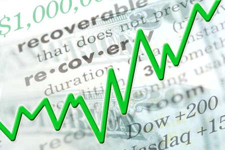 Economisch herstel afbeelding met tekst en lijn grafiek.