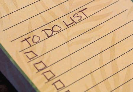 Handwritten blank to do list on paper. Stock Photo