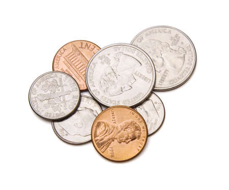 penny pinching: Coins. Stock Photo
