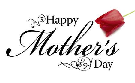 Moeders Day Card met tekst, roos en ornamenten. Stockfoto