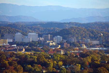 tennessee: View of Knoxville skyline and the Great Smoky Mountains. Stock Photo