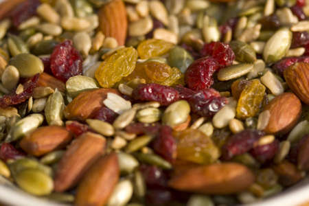 Trail mix with almonds, dried cranberries, raisins and sunflower seeds.