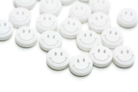 Group of antidepressant pills isolated on white background