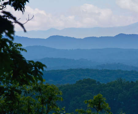 View of Smoky Mountains early in the morning. photo