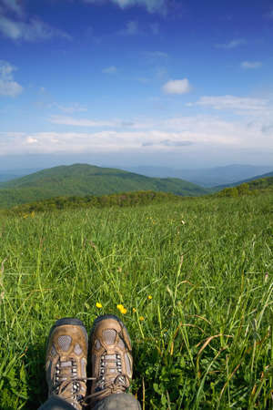 A hikers view from a meadow overlooking the Appalachian Mountains.