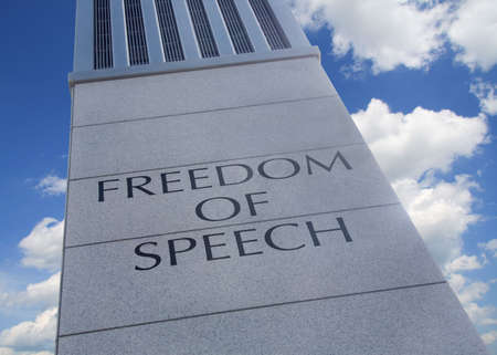 freedom: Monument with the words Freedom Of Speech inscribed.