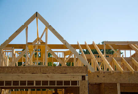 house roof: Section of a new house under construction. Stock Photo