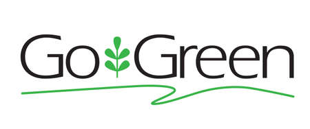 recycling logo: Go Green type with plant icon.