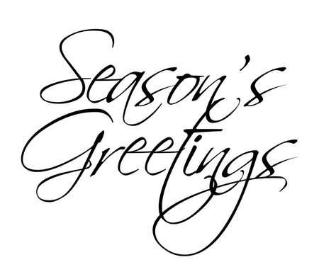 happy holidays text: Seasons Greetings vector type for seasonal use
