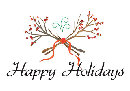 festive background: Happy Holidays script type with branches and berries