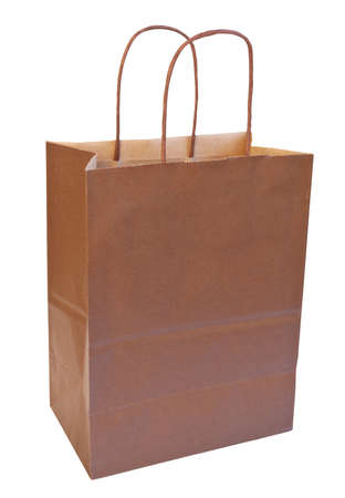 Brown paper bag on white background with clipping path Imagens