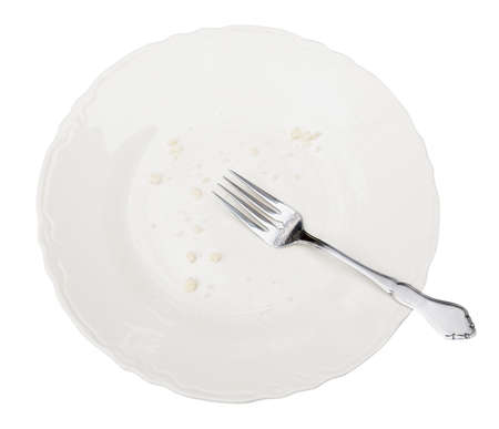 Empty plate, crumbs and fork