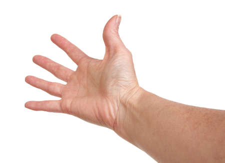 Female hand reaching on a white background 스톡 콘텐츠