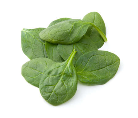 Pile of baby spinach an a white background