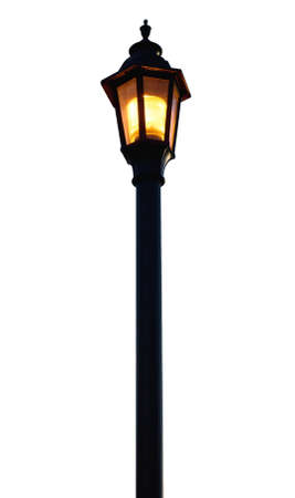 lit lamp: Light Post on white background