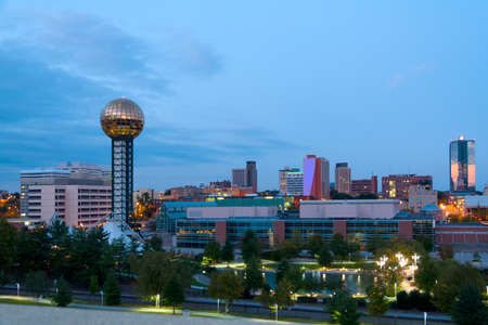 The city of Knoxville, Tennessee at dusk