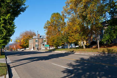 Downtown view of the city of Rutledge, Tennessee USA