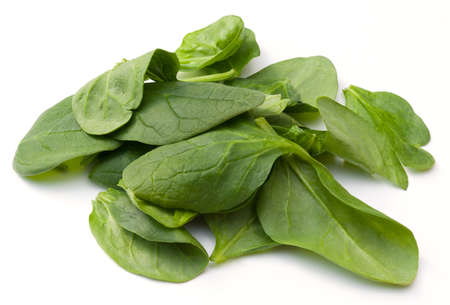 Pile of baby spinach an a white background photo
