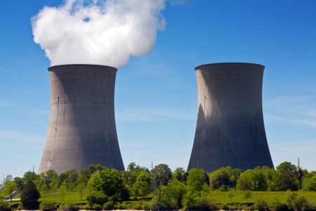 generating station: Two cooling towers at a nuclear power generating station.