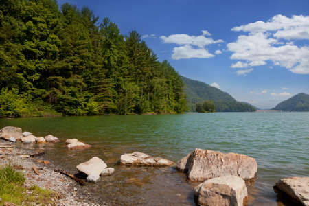 watershed: View from the shore of Watauga Lake and Dam, Elizabethton, Tennessee