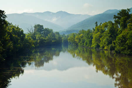Nolichucky River with Unaka Mountains in background Stock Photo - 14167530